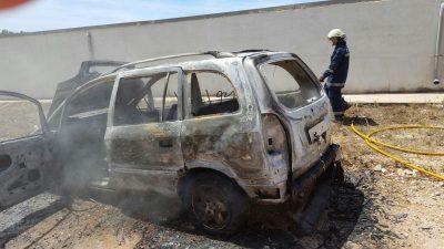 fuego en un vehículo